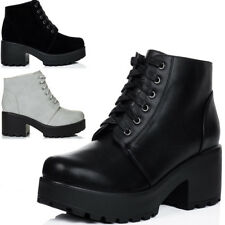 Womens Lace Up Cleated Sole Platform Block Heel Ankle Boots Shoes Sz 3-8