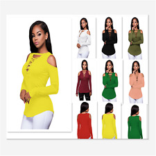 Sexy Womens Blouses Long Sleeve Cut-out Shoulder Ribbed Shirts Clubwear Top