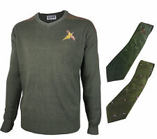 Pheasant Embroidered Pullover V-Neck Wool Jumper & Shooting Tie Hunting Gift