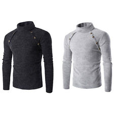 Fsahion Mens Warm Turtleneck Knitted Sweater Casual Tops Pullover Slim T-Shirt