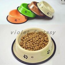 New Steel painted lacquer Skid Dog Puppy Small Pet Cat Food Water Bowl Quality