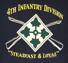 "US Army 4th Infantry Division T-Shirt "" Steadfast & Loyal "" Iron Horse Fourth ID"