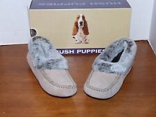Hush Puppies Lombard Tan, Black or Brown Leather Slippers w/Faux Fur