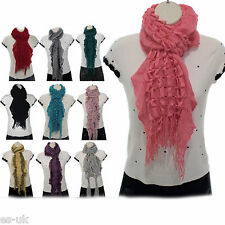 Whole Sale Job Lots -10 x Wool Knitted Scarves Mixed Design & Colour - Brand New