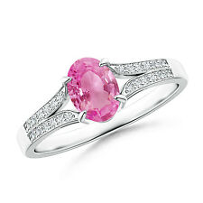 Vintage Style Oval Pink Sapphire Solitaire Engagement Ring 14k White Gold