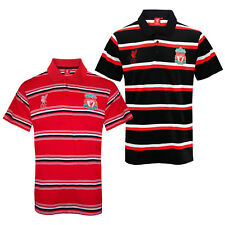 Liverpool Football Club Official Soccer Gift Mens Striped Polo Shirt