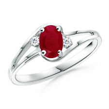 Natural Ruby Solitaire Engagement Ring with Diamond in 14k White Gold Size 6