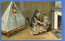 OLD VINTAGE POSTCARD CHRISTMAS XMAS NOEL ANTHROPOMORHIC CATS NEAR FIRE