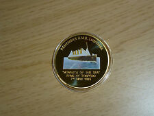 R.M.S. LUSITANIA 100TH ANNIVERSARY OF THE SINKING GOLD CLAD COIN IN ACRYLIC CASE