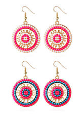 Bohemian Earring Fashion Bead National wind Hot Pearl Earrings Circle 1 Pair