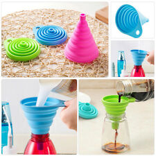 2pcs Mini Silicone Gel Collapsible Foldable Funnel Hopper Practical Kitchen Tool