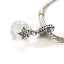 Genuine Sterling Silver Moon & Star Clear Cz Dangle Charm
