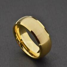 8mm Tungsten Gold Satin Dome Top Shiny Beveled Edge Men's Wedding Band