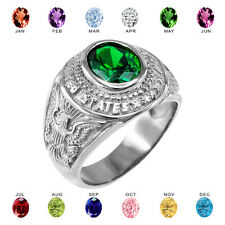 Solid 10k White Gold US Army Men's CZ Birthstone Ring
