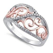 HuntForDeals Sterling Silver Vines Two-tone Rose Gold Plated CZ Fashion Ring