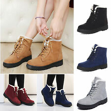 Womens Ankle Snow Boots Lace Up Faux Suede Fur Winter Warm Shoes Casual Bootie