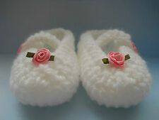 Hand Crochet / Knit Gorgeous Baby Girls White Mary Jane Shoes / Booties 4 Sizes