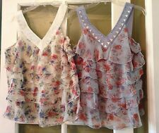 Tunic Tribal Tiers Ruffle Floral Print Blue Ivory Burnout Beaded Top Blouses Lot