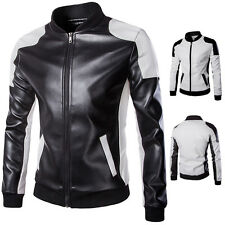 Fashion Mens Long Sleeve PU Leather Slim Fit Motorcycle Bomber Jacket Coat Tops