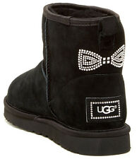 UGG Australia Classic Suede Mini Crystal Bow Boot Black Size 5, 9 New With Box