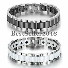 New Stainless Steel Ceramic Wide Link Magnetic Therapy Mens Cuff Bangle Bracelet