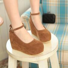 Womens Stylish Faux suede Platform High Wedge Heels Buckle Mary Jane Pumps Shoes