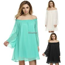 Women Loose Boat Neck Sexy Off Shoulder Boho Ruffle Sleeve Chiffon Mini BF9