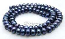 "SALE 6-7mm Black Flat Round Natural Freshwater Pearl Loose Beads strands 14""-587"