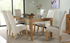 Tate 150cm Oak and Glass Dining Table and 4 6 Richmond Chairs Set (Cream)