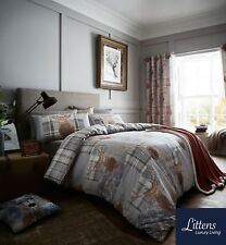 CATHERINE LANSFIELD HERITAGE STAG GREY TARTAN REVERSIBLE CHECK BEDDING QUILT BED