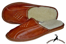 Mens Natural Tan Leather Handmade Slippers Shoes Sheep Wool Warm S All Size New