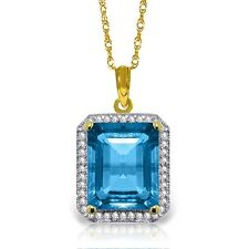 Genuine Blue Topaz Emerald Cut Gem Diamonds Halo Pendant Necklace 14K Solid Gold