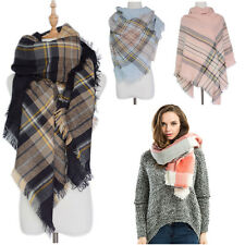Oversized Tartan Plaid Blanket Scarf Cashmere Wrap Shawl Cozy Checked Pashmina