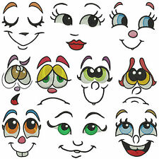 FUNNY FACES * Machine Embroidery Patterns  * 10 designs, 3 sizes