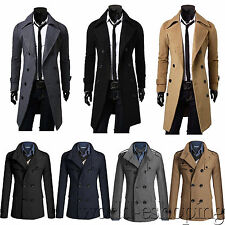 Mens Slim Fit Trench Coat Jacket Double Breasted Outwear Overcoat Peacoat Shirts