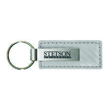 Stephen F. Austin State University-Carbon Fiber Leather and Metal Key Tag-White