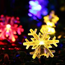 String Fairy Lights Snowflake Flowers Christmas Solar 20LED Party Outdoor Decors