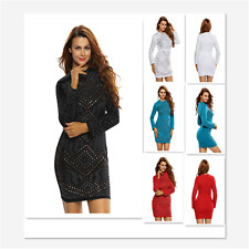 Stylish Women Mini Dress Jeweled Quilted Long Sleeves Cocktail Party Dress