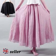 Womens Pleated Chiffon Long Maxi Skirt Bohemian Elastic Waistband Big Wave Dress