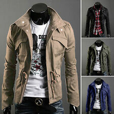 Luxury Mens Zip Button Hooded Military Slim Fit Collar Jacket Long Coat Outwear