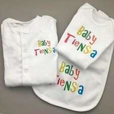PERSONALISED Unisex multicolour baby clothing choice babygrow vest bib ANY NAME