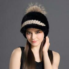 Genuine 100%Real mink knit Fur hat Women/men Winter warm Russian fur hat outdoor