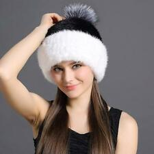 Genuine Real mink knitted Fur hat Women/men Winter warm Russian fur hat outdoor