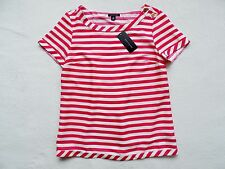 NWT Tommy Hilfiger Women's Short Sleeve Striped Top, White/Pink, Size: M