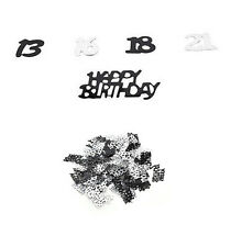 21st NewBirthday Party Supplies Confetti Black Silver Table Scatters Decorations