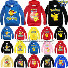 Kids Boys Girls Hoodies Sweatshirt Pokemon Go Pikachu Casual Hooded Pullover Top