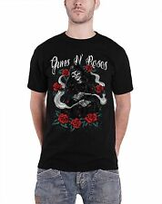 Guns N Roses Mens T Shirt Black Reaper with Roses band logo Official