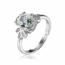 JewelryPalace Genuine Green Amethyst White Rock Quartz Ring 925 Sterling Silver