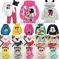 Kids Baby Girls Mickey Minnie Clothes Sweatshirt Hoodies Tops Pants Outfits Set