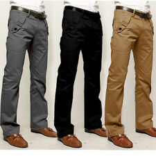 New Mens Slim Fit Straight-Leg Trousers Casual Work Party Business Long Pants